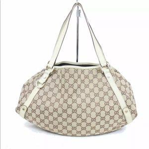 Authentic Gucci Canvas Handbag Shoulder Bag